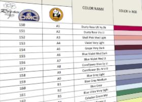 tabla de conversion DMC hilos rosace y Panda